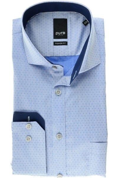 Pure Hemd - Fashion Fit - mittelblau, Einfarbig