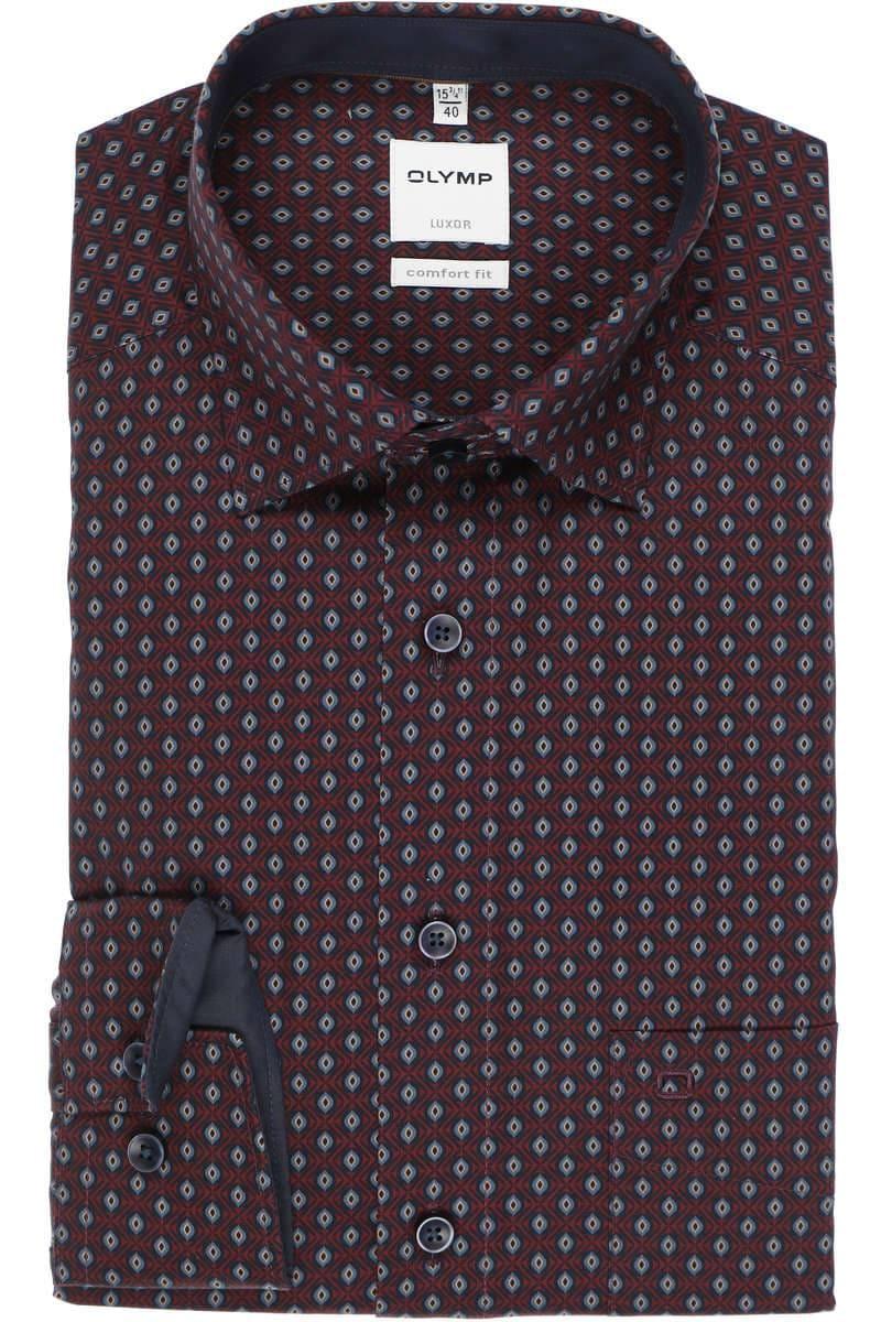 OLYMP Luxor Comfort Fit Hemd dunkelrot, Gemustert