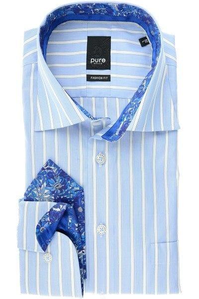 Pure Hemd - Fashion Fit - blau/weiss, Gestreift