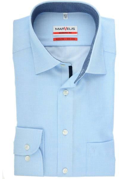 Marvelis Modern Fit Hemd bleu/weiss, Kariert