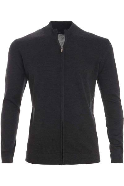 MAERZ Strickjacke Classic Fit Zipper anthrazit, einfarbig