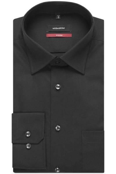 Seidensticker Hemd - Modern Fit - schwarz, Einfarbig