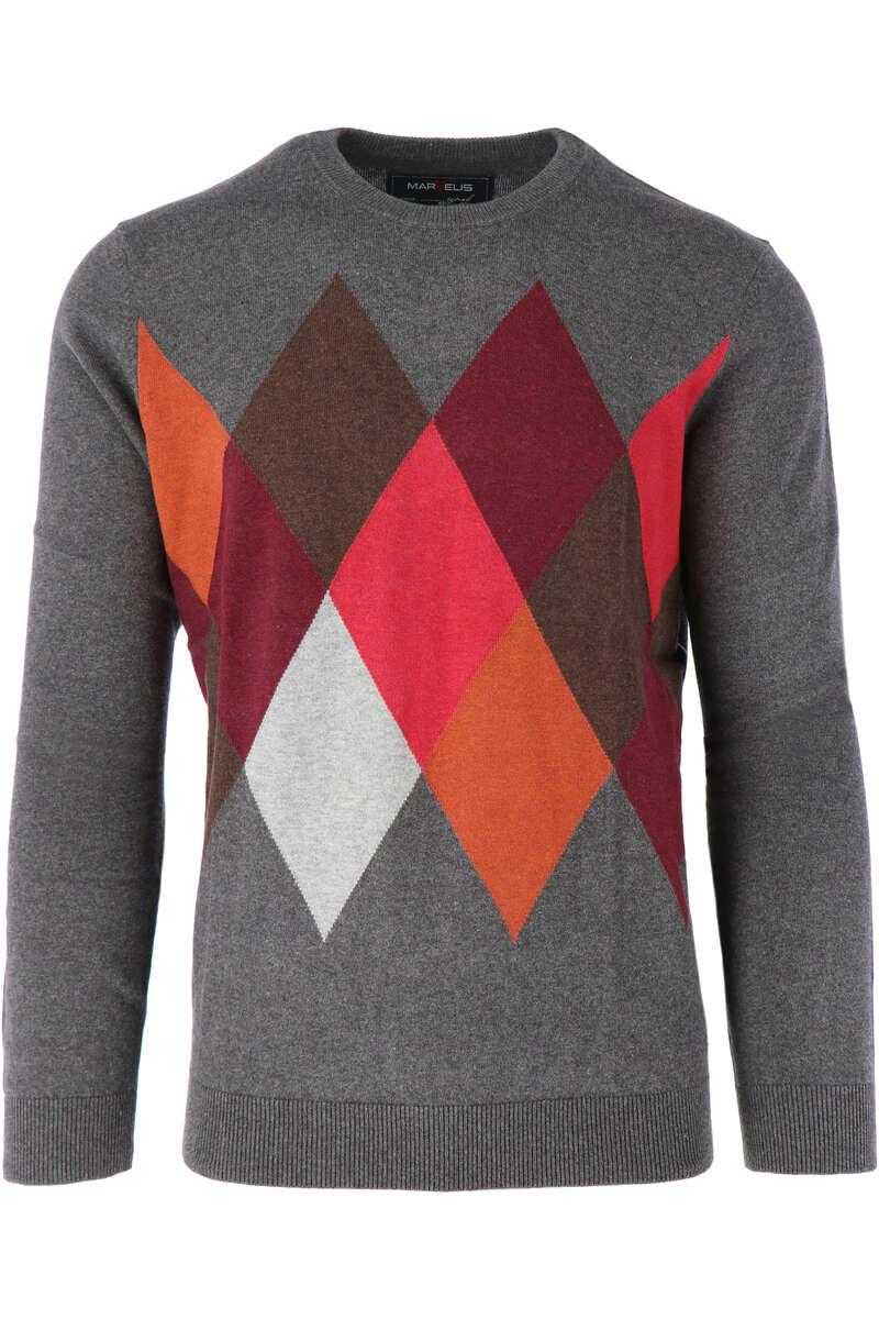 Marvelis Casual Modern Fit Pullover Rundhals grau/rot, gemustert M
