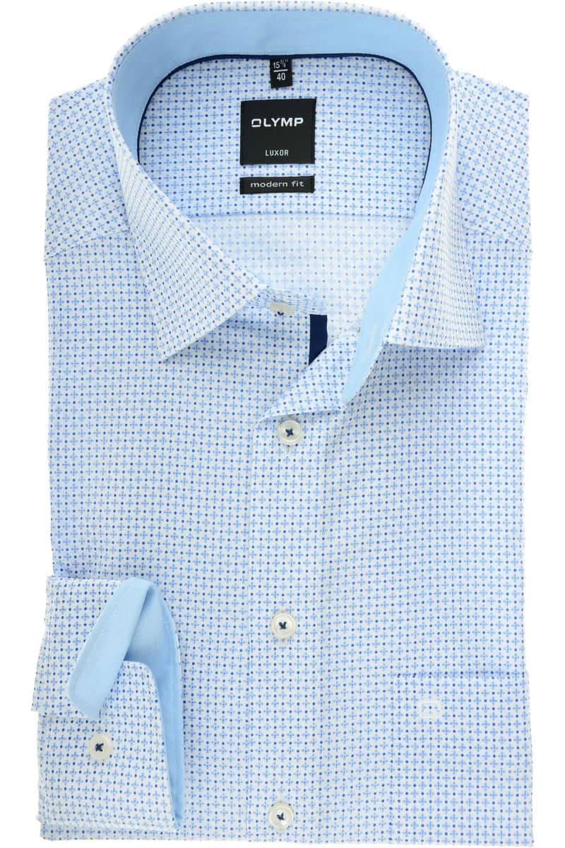 OLYMP Luxor Modern Fit Hemd blau, Gemustert