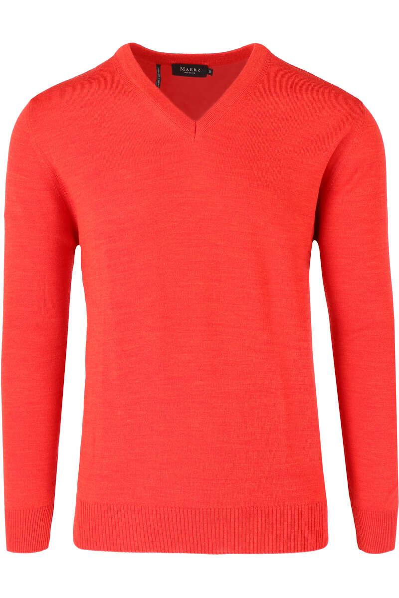 Maerz Classic Fit Pullover V-Ausschnitt rot, einfarbig 48