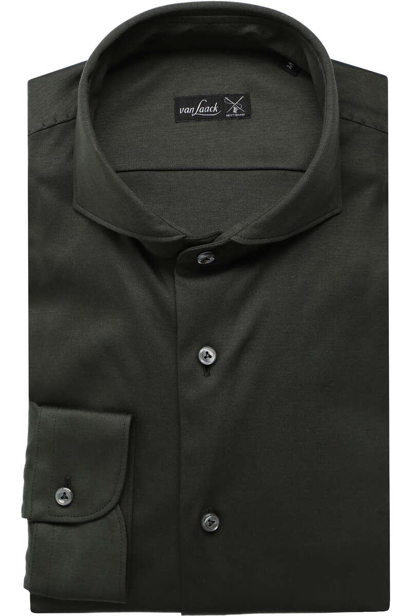 Van Laack Tailor Fit Jerseyhemd oliv, Einfarbig XXL