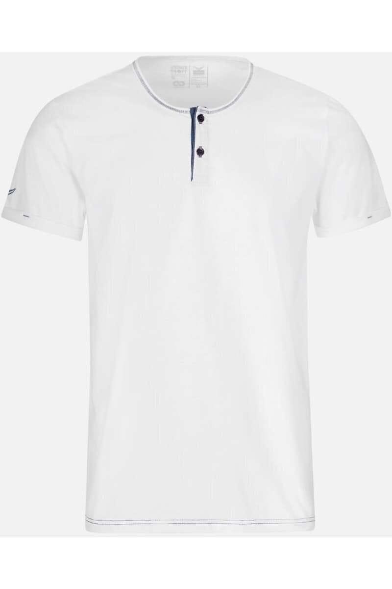 TRIGEMA Slim Fit T-Shirt Henleykragen weiss, einfarbig M