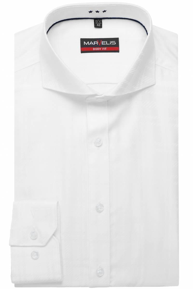 Marvelis Body Fit shirt white, Chequered