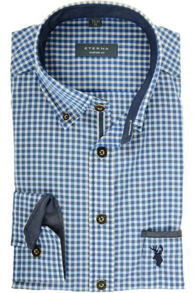 e390bc92c104 Hochwertiges ETERNA Comfort Fit Trachtenhemd in der Farbe blau weiss ...