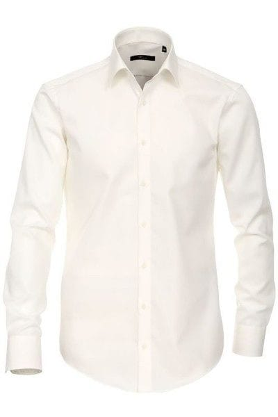 Venti Hemd - Slim Fit - creme, Einfarbig