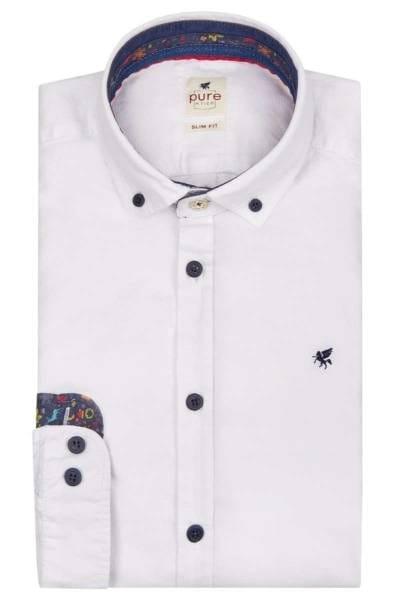 Pure Slim Fit Hemd dunkelblau, Einfarbig
