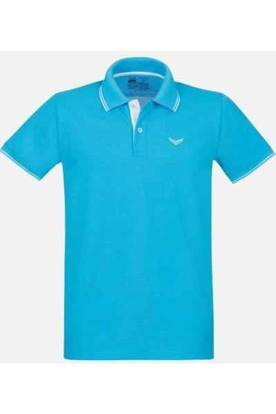 TRIGEMA Comfort Fit Poloshirt azur, Einfarbig