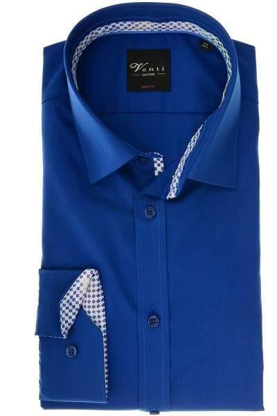 Venti Body Fit Hemd blau, Einfarbig