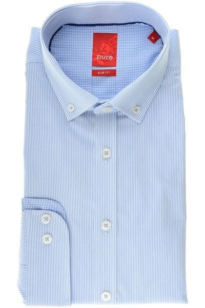 Pure Hemd - Slim Fit - hellblau, Gestreift