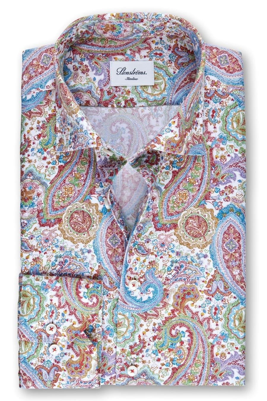 Stenströms Slimline Hemd mehrfarbig, Paisley (extra langer Arm) 44 - XL