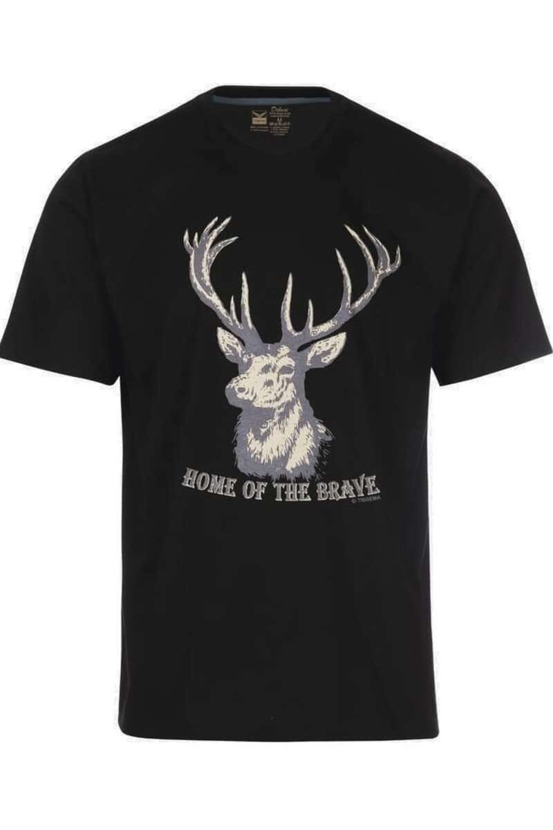 TRIGEMA Comfort Fit T-Shirt Rundhals schwarz, bedruckt M