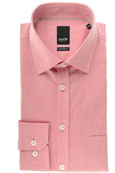 Pure Hemd - Fashion Fit - rot, Einfarbig