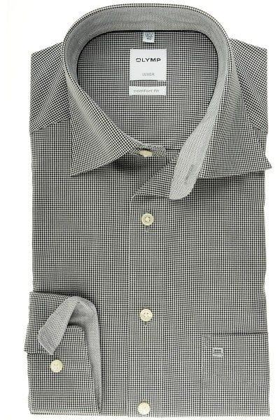 Beliebt Bevorzugt Olymp Comfort Fit - Hemd in Langarm (64cm), schwarz/weiss, Kariert &IU_96