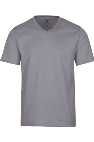 TRIGEMA T-Shirt V-Ausschnitt grau, einfarbig