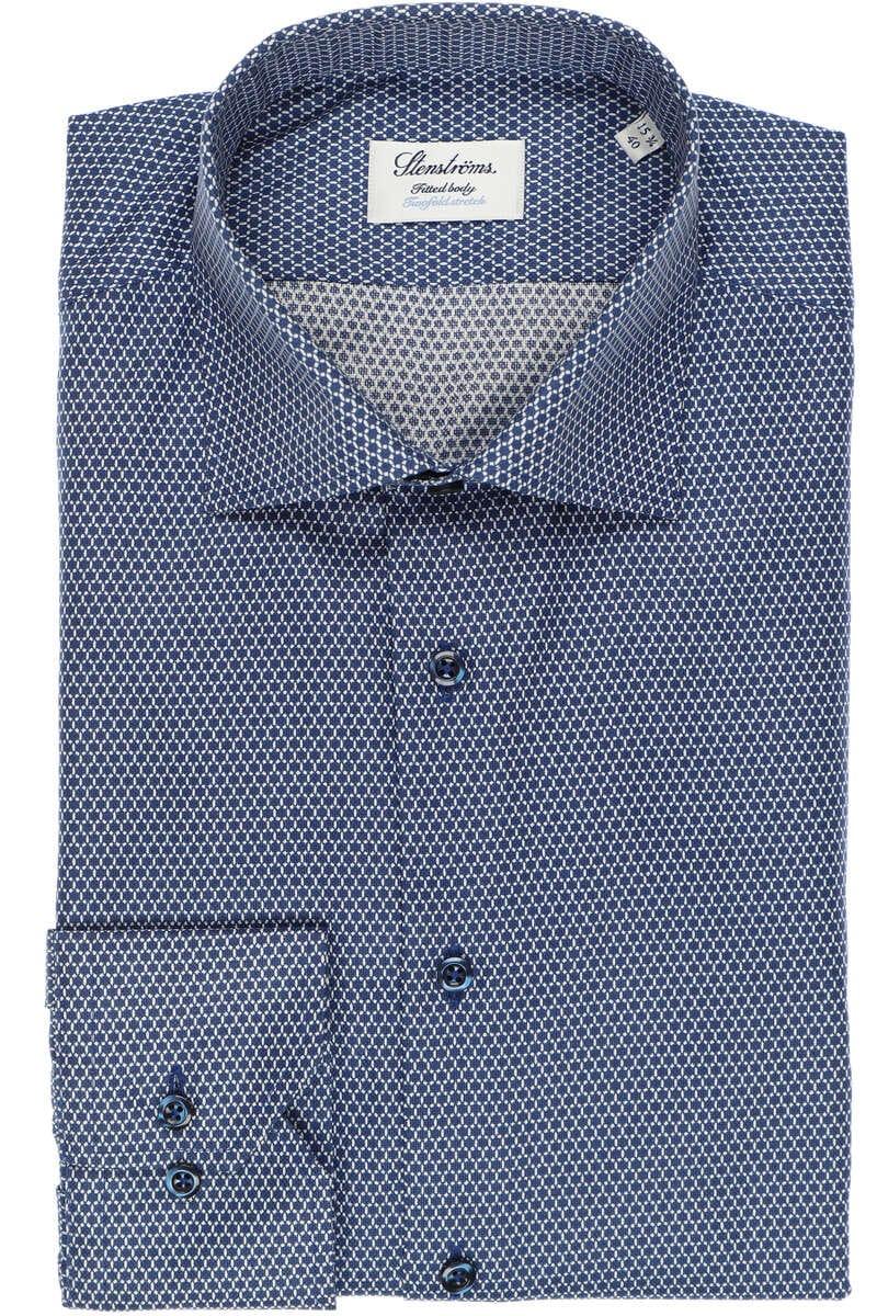 Stenströms Fitted Body Hemd blau/weiss, Gemustert 40 - M