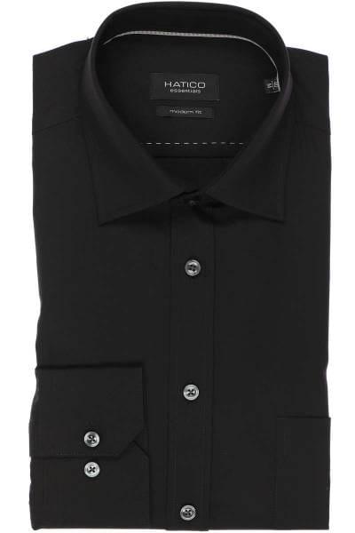 Hatico Modern Fit Hemd schwarz, Einfarbig