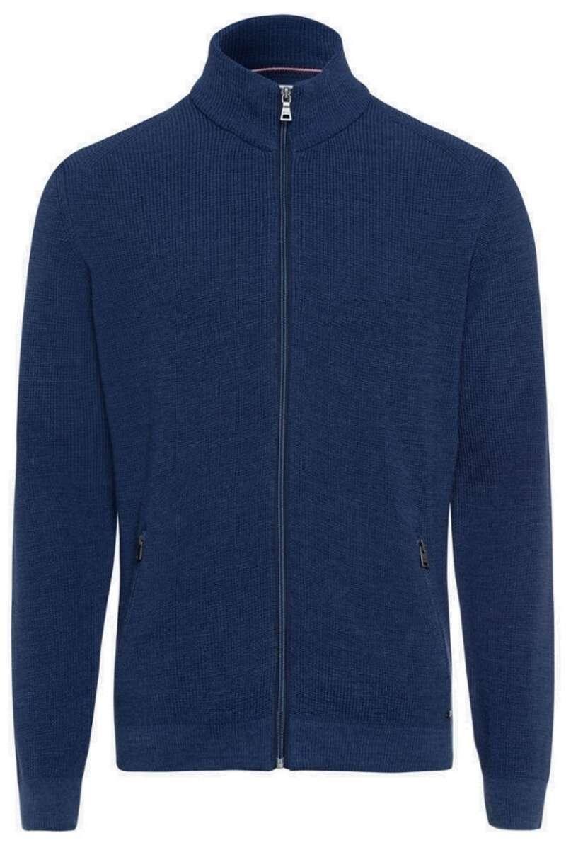 Brax Modern Fit Cardigan Zip blau, einfarbig 50