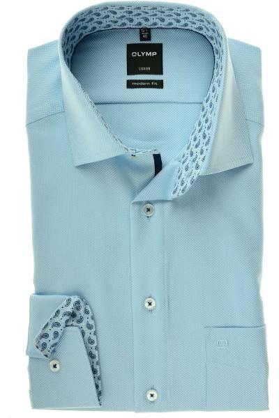Olymp Luxor Modern Fit Hemd bleu, Fischgrat