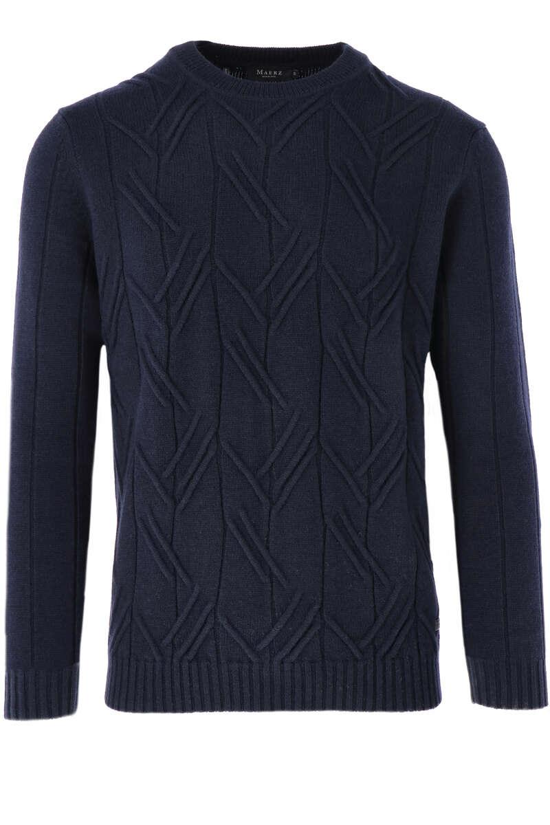 MAERZ Modern Fit Pullover V-Ausschnitt nachtblau, strukturiert 50