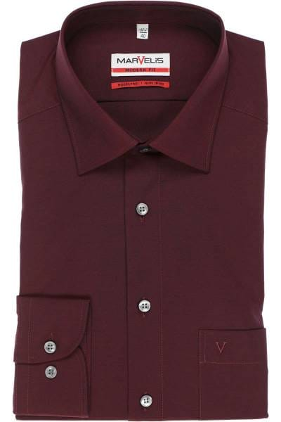 Marvelis Modern Fit Hemd dunkelrot, Einfarbig