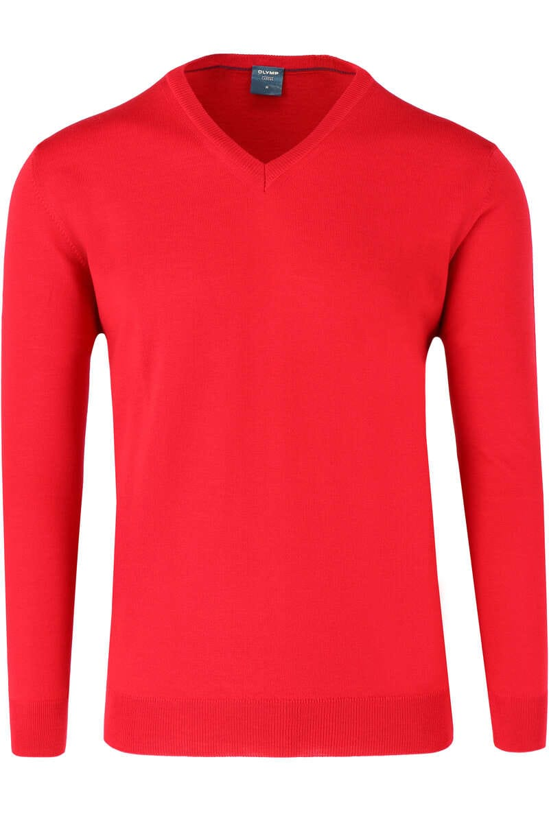 OLYMP Casual Modern Fit Pullover V-Ausschnitt rot, einfarbig M