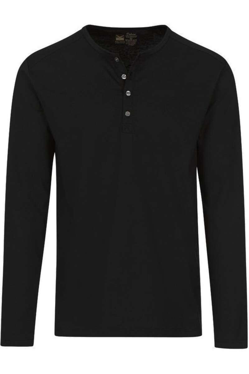TRIGEMA Comfort Fit Longsleeve Henleykragen schwarz, einfarbig M