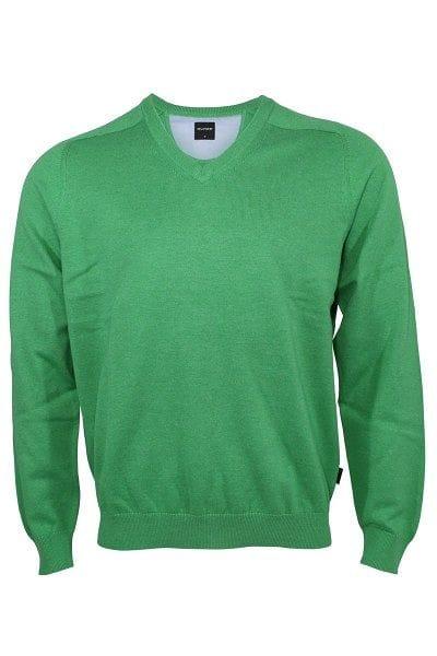 Olymp Strick - V-Ausschnitt Pullover - lindgrün