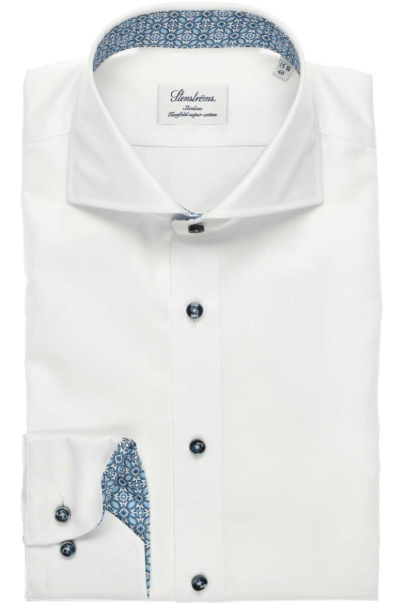 Stenströms Slimline Hemd weiß, Einfarbig 40 - M