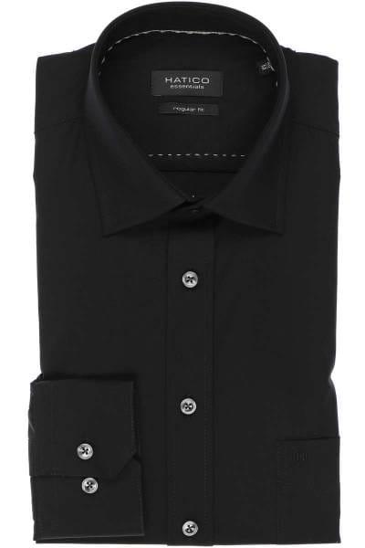 Hatico Hemd - Regular Fit - schwarz, Einfarbig