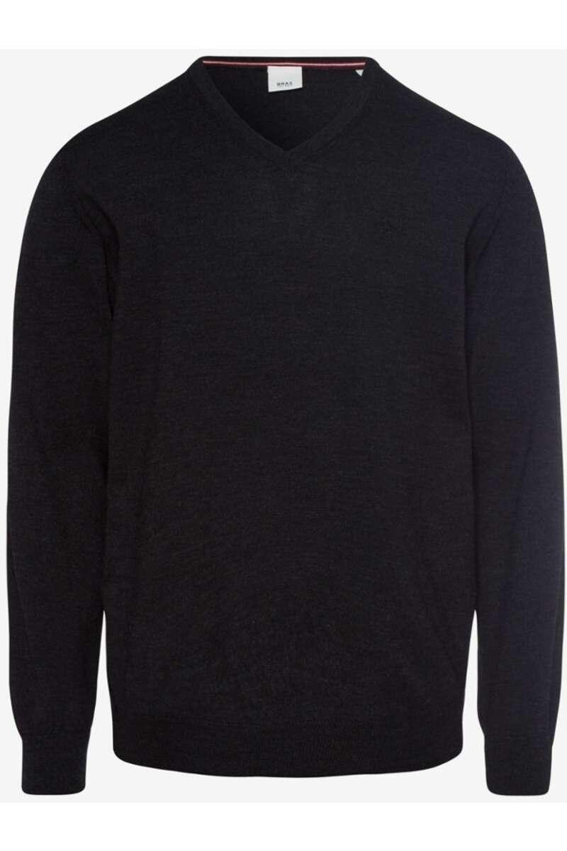 Brax Modern Fit Pullover V-Ausschnitt anthrazit, einfarbig 54