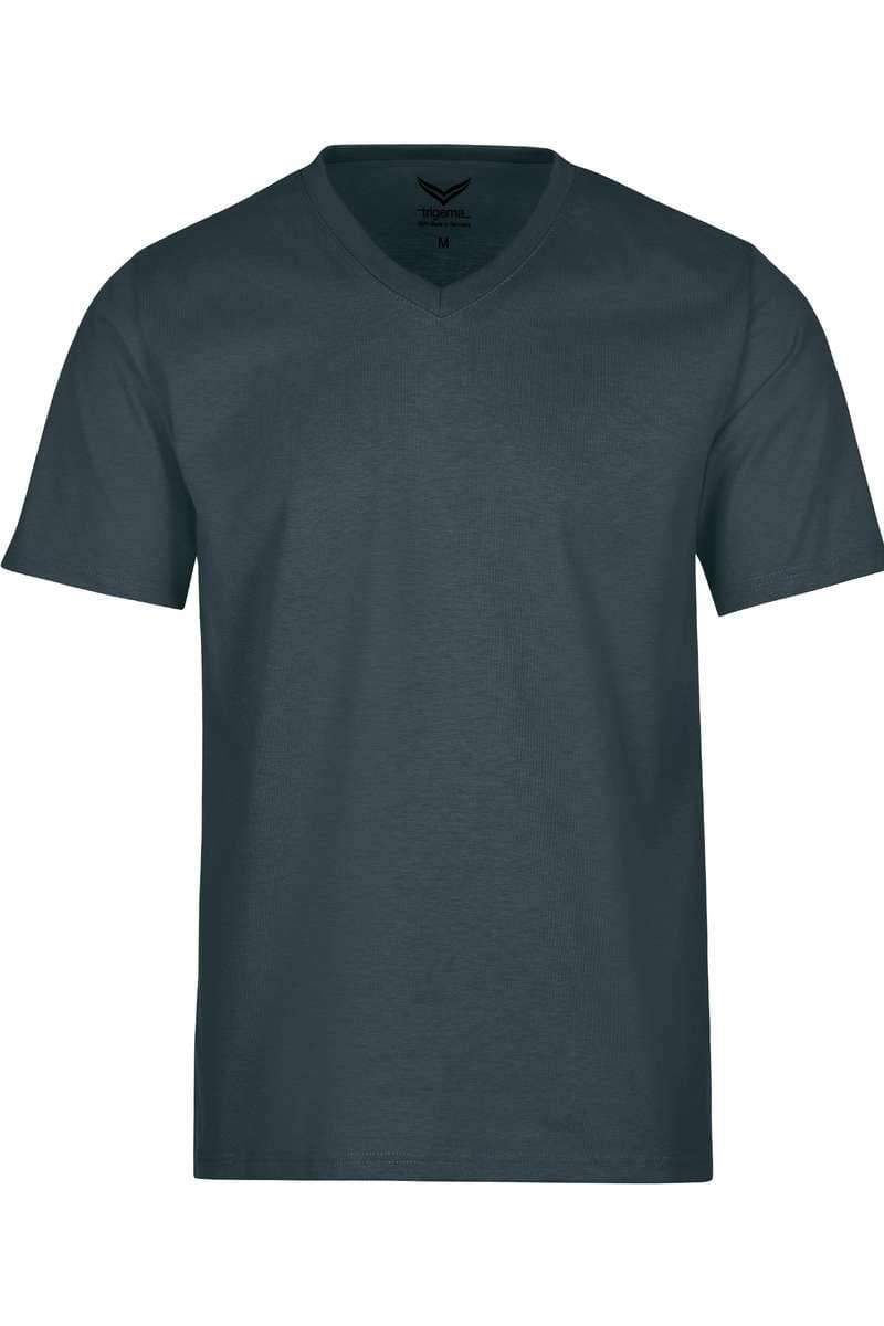 TRIGEMA T-Shirt V-Ausschnitt anthrazit, einfarbig