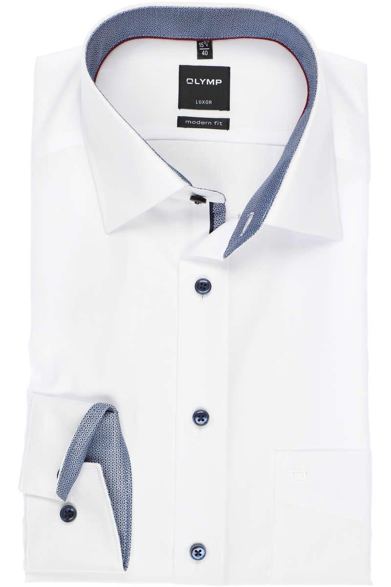 Olymp Luxor Modern Fit Hemd weiss, Einfarbig 47 - 3XL