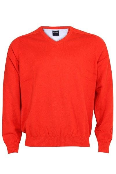 Olymp Strick - V-Ausschnitt Pullover - orangerot