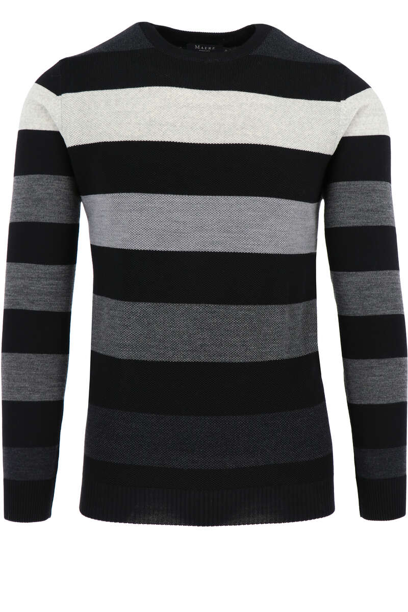 Maerz Regular Fit Pullover Rundhals schwarz/grau, gestreift 50