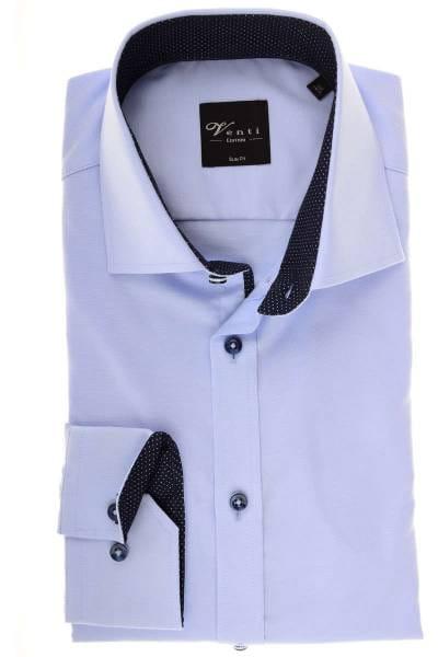 Venti Slim Fit Hemd hellblau/silber, Strukturiert