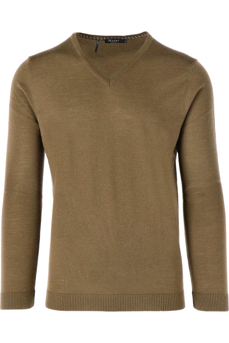 Maerz Modern Fit Pullover V-Ausschnitt khaki, einfarbig 50
