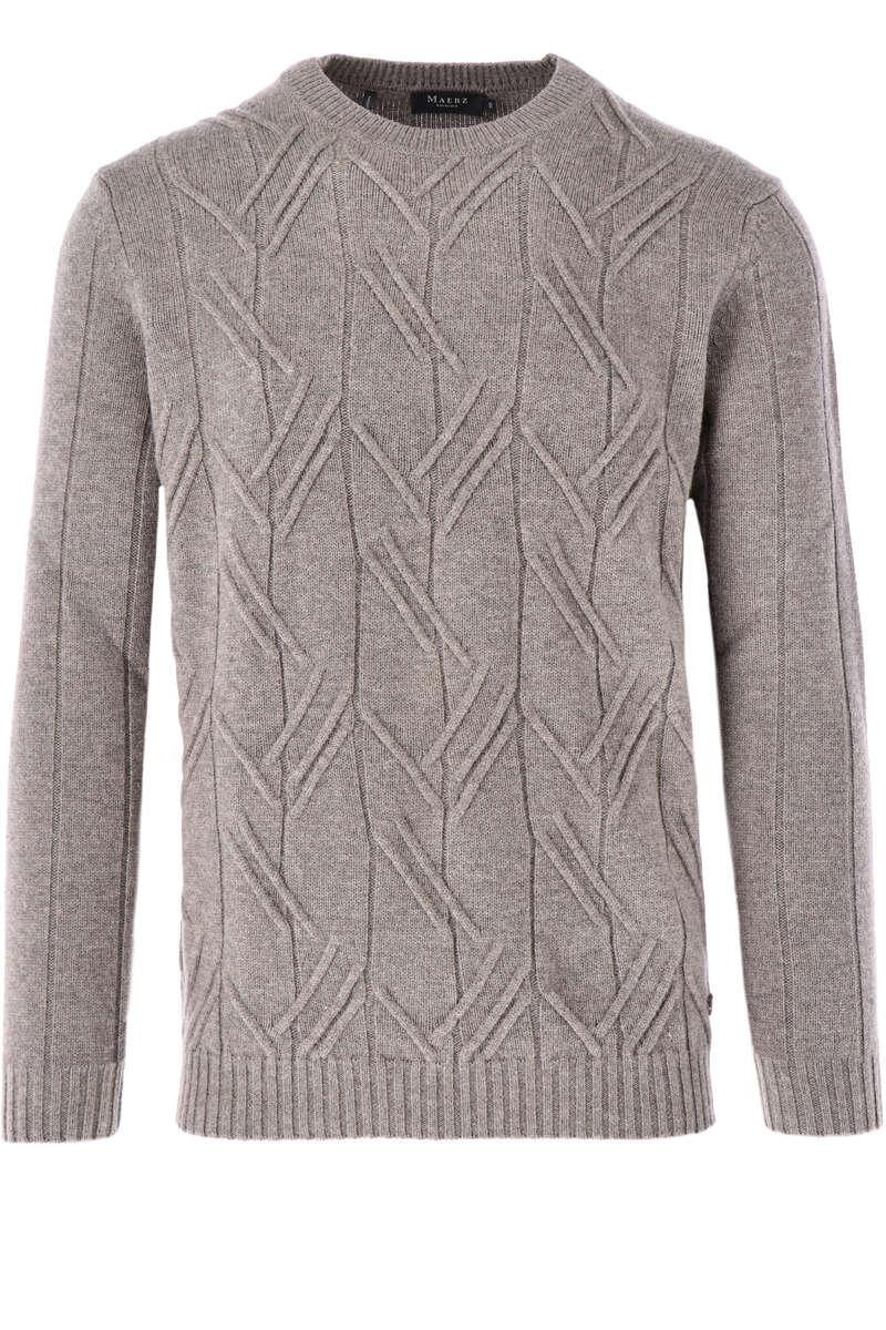 MAERZ Modern Fit Pullover V-Ausschnitt braun, strukturiert 50