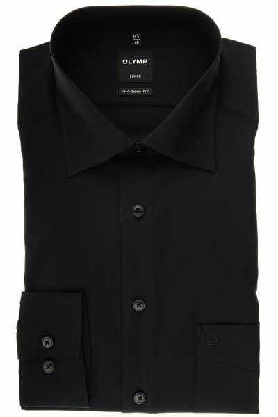 Olymp Hemd - Modern Fit - schwarz, Einfarbig