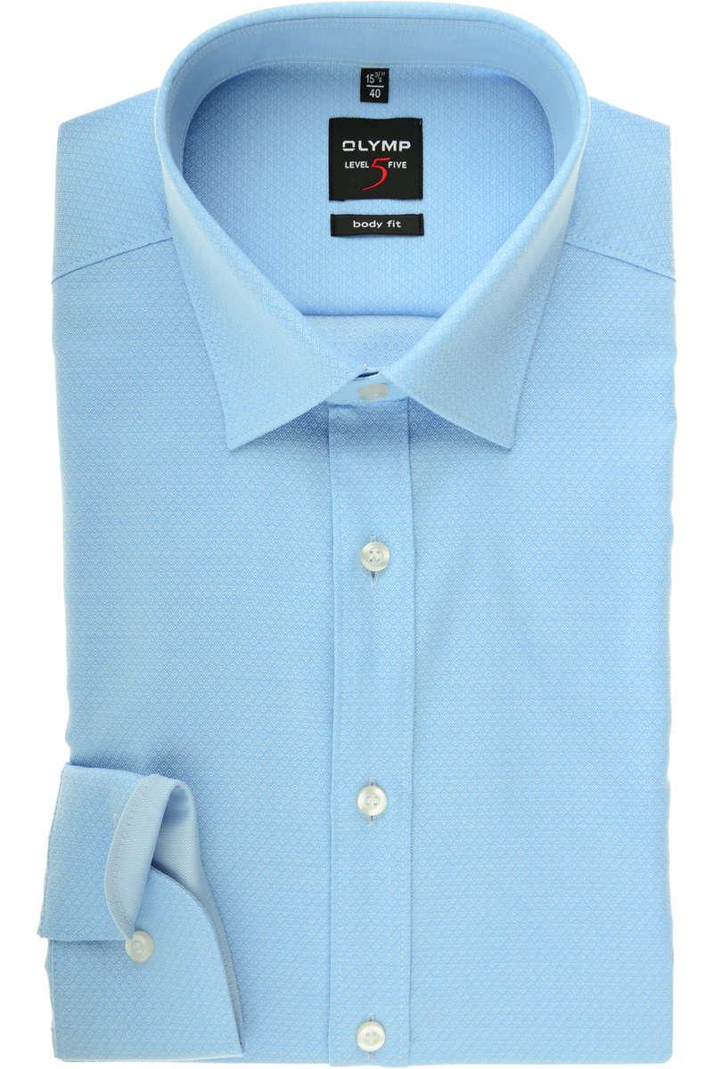 87b479b4 Hochwertiges Olymp Level Five Body Fit Hemd in der Farbe bleu, Faux-uni.  Der Ärmeltyp ist Langarm (64cm), das Hemd ist bügelleicht und ist ohne  Brusttasche.