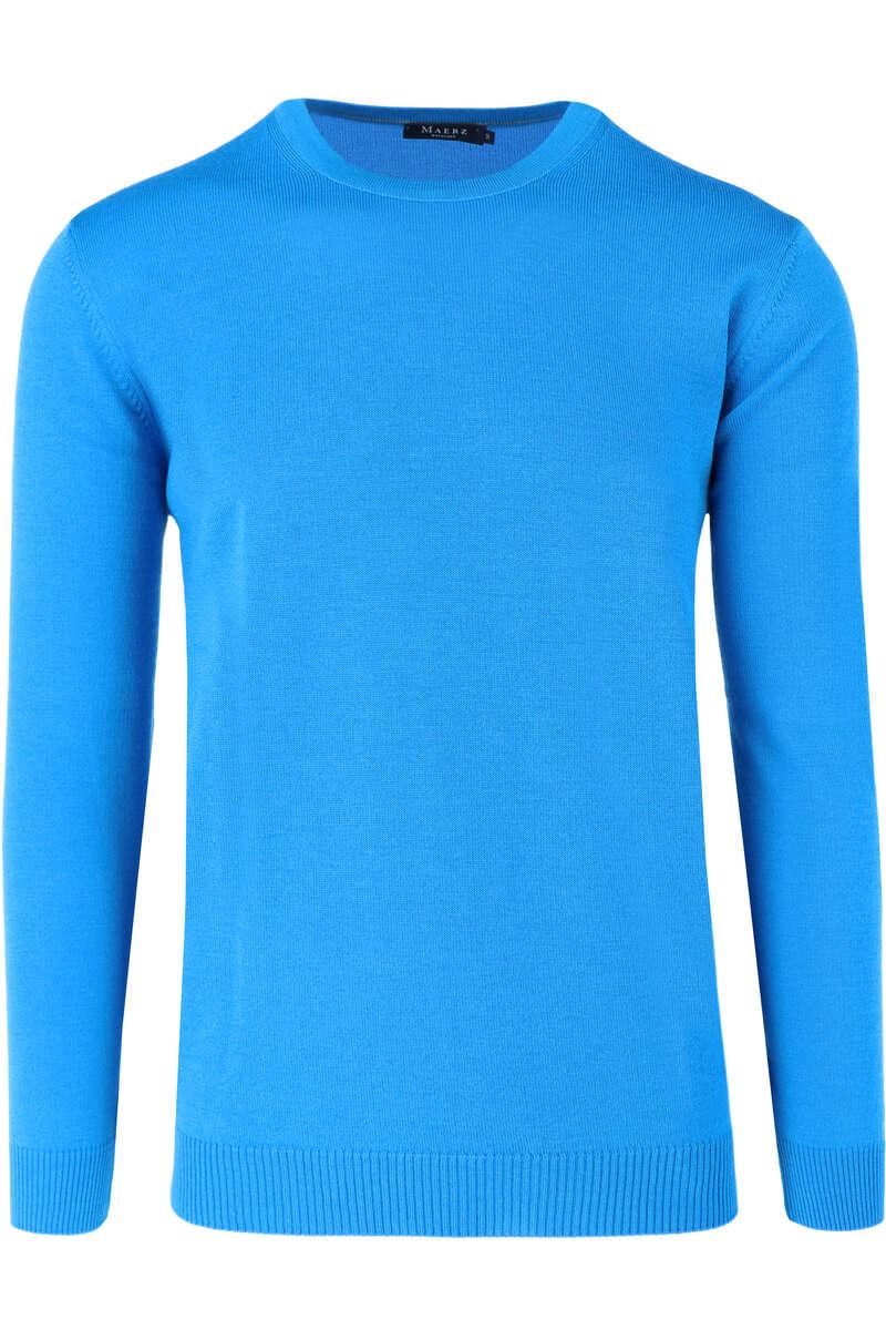 MAERZ Modern Fit Pullover Rundhals royal, einfarbig 48