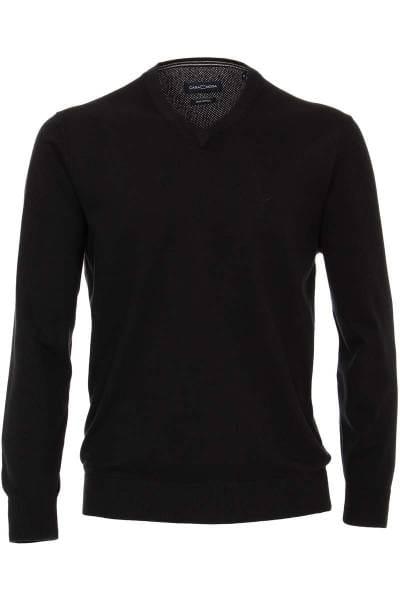 Casa Moda Strickpullover V-Ausschnitt schwarz, Einfarbig