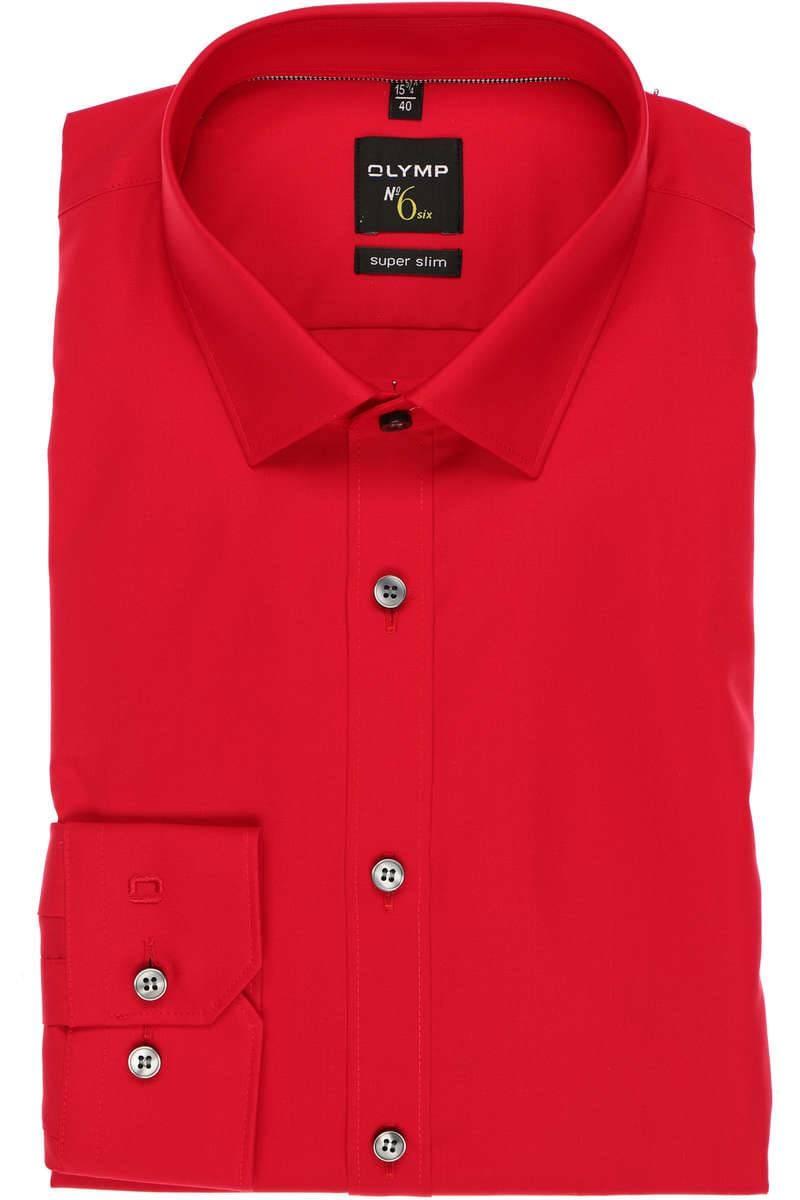 Olymp Hemd - Super Slim No. Six - rot, Einfarbig
