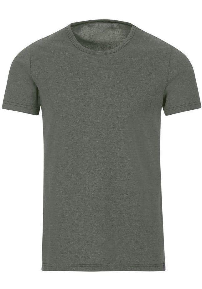 TRIGEMA Slim Fit T-Shirt Rundhals oliv, einfarbig M