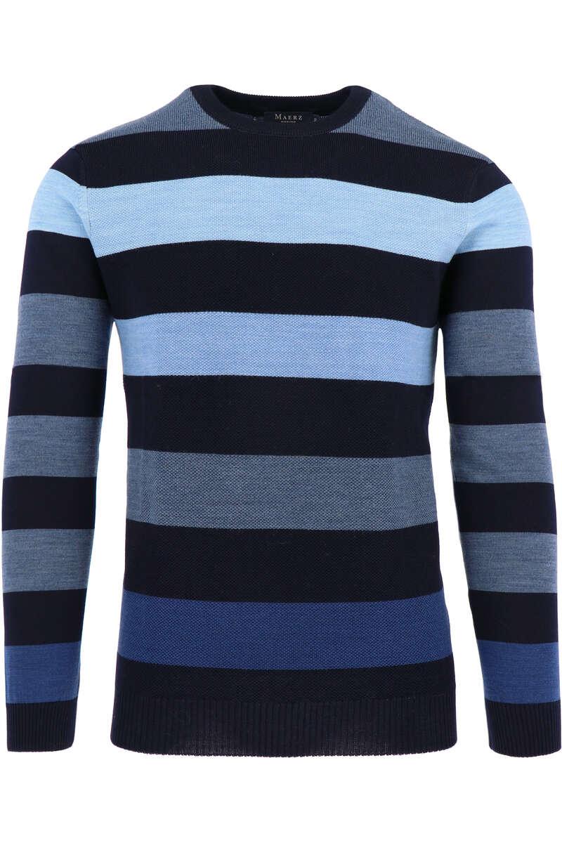 MAERZ Classic Fit Pullover Rundhals navy/blau, gestreift 48