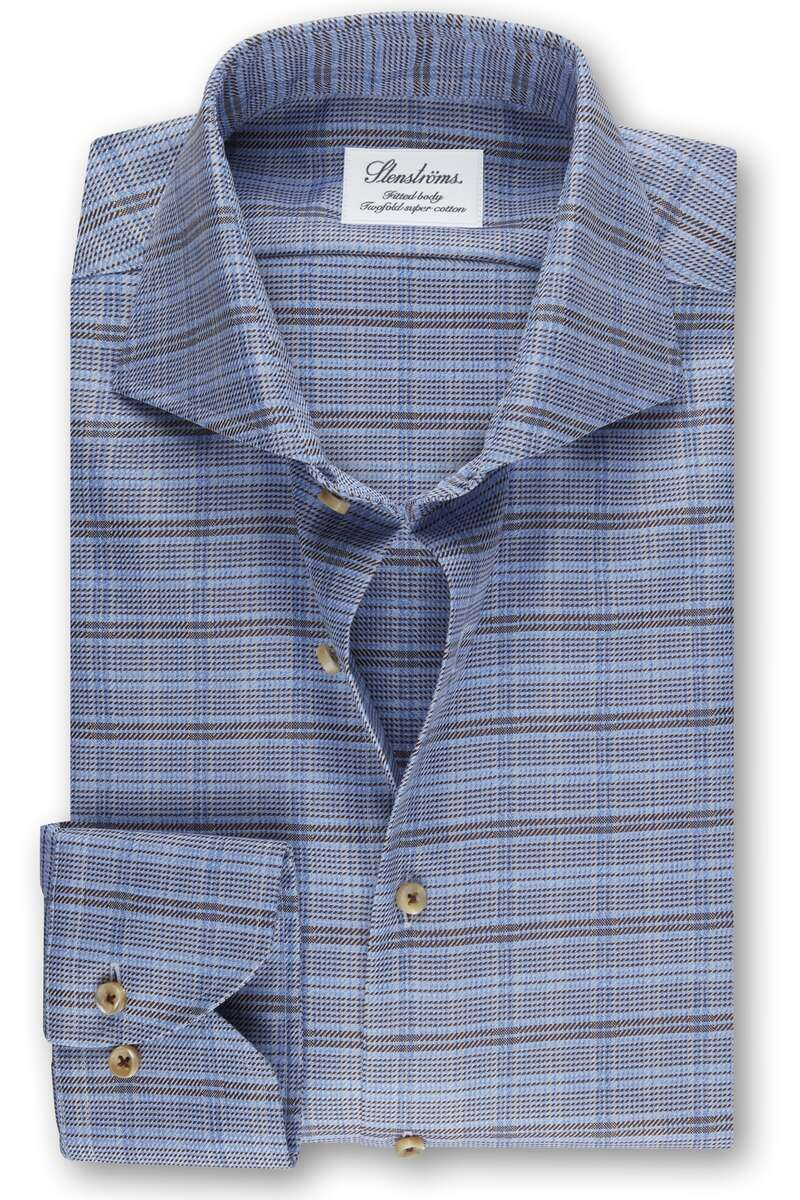 Stenströms Fitted Body Hemd blau/braun, Kariert 42 - L